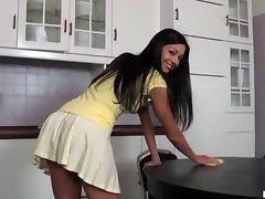 Gorgeous Brunette Britney Masturbates On Top Of A Kitchen Table