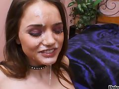 Sexy brunette Tori Black gets a massive facial after a hot blowjob porn tube video