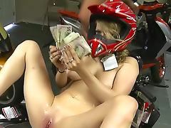 Young slut paid to fuck in bike shop porn tube video