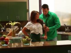 Busty brunette Madison Ivy gets fucked in the kitchen