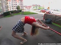 Horny Blonde Babe Stretches and Masturbates in Public
