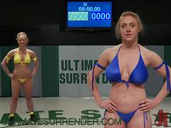 Busty Blonde Battle It Out For A Strapon Fuck