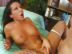 In sexy fishnets she is his fuck slut