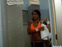 Carmella's monster penetrates her tight ebony pussy