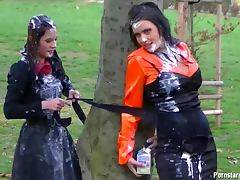 Girls dump thick drinks on each other