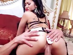 Cocksucking lingerie slut in lipstick tube porn video