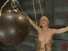 Tit Pumping And Clothespins Torture For Blonde in BDSM Clip