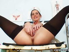 Solo nurse sexy dildo play