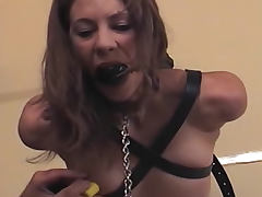 Skinny girl in kinky hotel room bondage