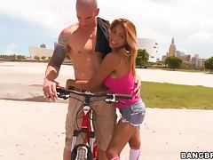 Horny babe with tight tits gets fucked on wheels