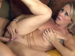 Blonde MILF Nikki Charm sucks and fuck with young