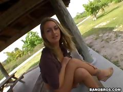 Horny blond babe gets fucked anal outdoor