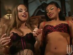 Glamorous pornstar lesbian threesome