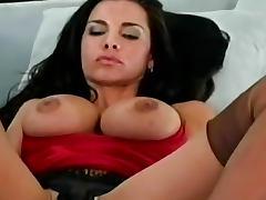 Sensual stockings on this masturbating babe
