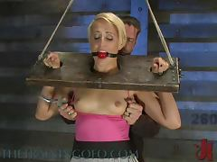 Gag Ball In Her Mouth and a Vibrating Toy In Her Pusy In BDSM tube porn video
