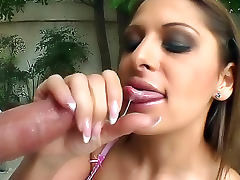 Sexy turtleneck girl sucks cock outdoors