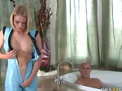 Robotic Blonde Nympho Takes A Big Dick Up Her Tight Twat