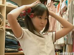 Asian teen dresses as schoolgirl
