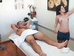Old man fucks Japanese masseuse tube porn video
