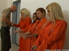 Busty Blonde Inmate Shyla Stylez Does Ass To Mouth and Swallows