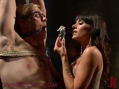 Stunning Blonde Babe Torturing a Guy's Balls in Femdom