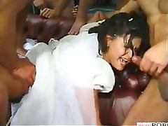 Slutty Brunette Bride Gets Gangbanged In Front Of Her Cuckold Husband tube porn video