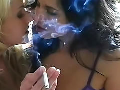 Two attractive angels are smoking their favorite cigarette tube porn video