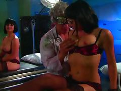 Crazy Scientist Fucking Sarah Vandella and Shawna Lenee in FFM Threesome