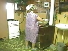 Horny Granny Masturbates With Sex Toy Then Sucks Cock and Gets Facialized