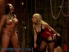 Busty Blonde Dominatrix Fucking Her Two Lesbian Sex Slaves with Strapon porn tube video