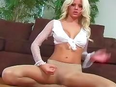Fake titty blonde in arousing pantyhose
