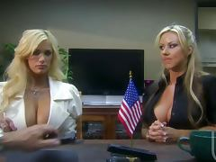 Double teamed by super hot blondes