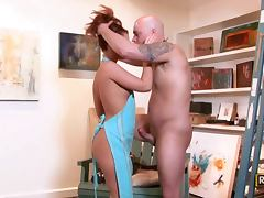 Redhead paints his head and blows