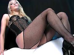 Animal print corset girl sits on dick