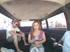 Naughty Teens Rides Two Hard Cocks In The Backseat tube porn video