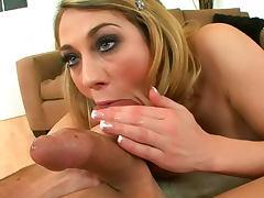 Hot babe sucks cock and balls