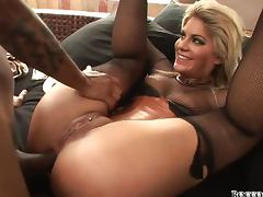 Busty and booty blondie gets balled by a black dude