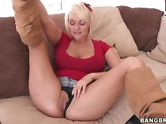 Horny Blonde MILF Masturbates For Her Son's Friend tube porn video