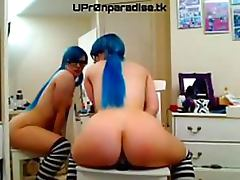Blue Haired Amateur Babe Crams a Dildo Up Her Bubble Ass and Wet Pussy
