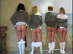 Submissive Lesbian Schoolgirls Get Their Asses Spanked By Dominant