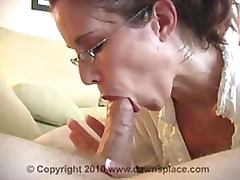 Glassed Brunette MILF Gives Blowjob and Swallows Cum In an Amateur