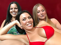 Lesbian foursome with strapon