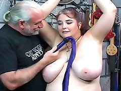 Fat woman wants to suffer in bondage tube porn video