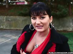 Horny Brunette MILF Plays With her Pussy Outdoors in Sexy Lingerie