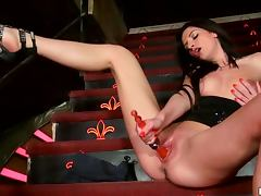 Kinky Brunette Bambi Masturbtes On The Stairs and After Pole Dancing