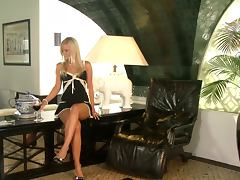 Beautiful blonde hotbitch goes crazy in the office