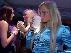 Satin sluts suck cock at a hot party