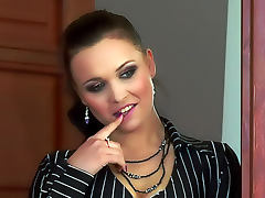 Chick in shiny pants and blouse gets laid