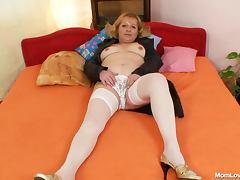 Chubby mature in white stockings