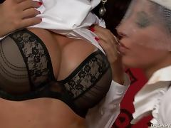 Sexy brunette lesbians play with vibrators